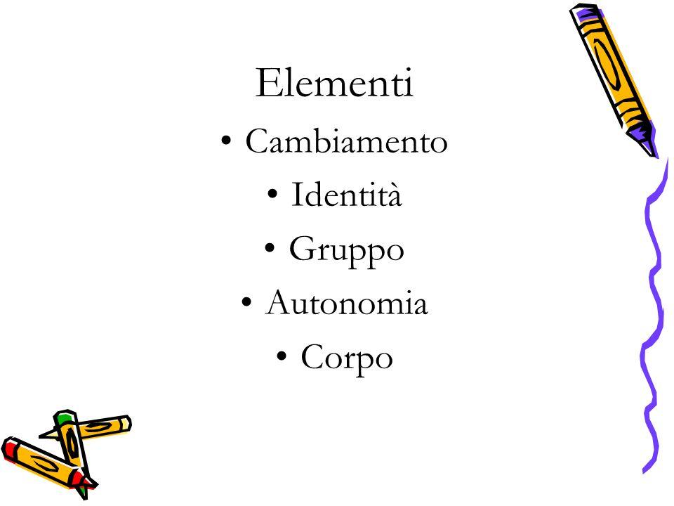 Elementi Cambiamento Identità Gruppo Autonomia Corpo