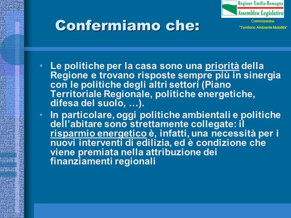 Confermiamo che: Le politiche per la casa sono una priorità della Regione e trovano risposte sempre più in sinergia con le politiche degli altri settori (Piano Territoriale Regionale, politiche energetiche, difesa del suolo, …).