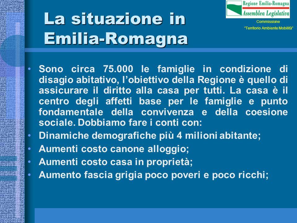 La situazione in Emilia-Romagna Sono circa 75.000 le famiglie in condizione di disagio abitativo, lobiettivo della Regione è quello di assicurare il diritto alla casa per tutti.