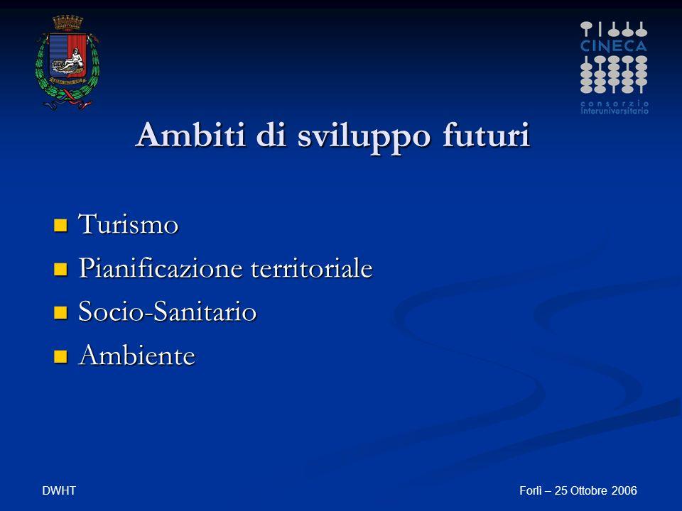 DWHTForlì – 25 Ottobre 2006 Ambiti di sviluppo futuri Turismo Turismo Pianificazione territoriale Pianificazione territoriale Socio-Sanitario Socio-Sanitario Ambiente Ambiente
