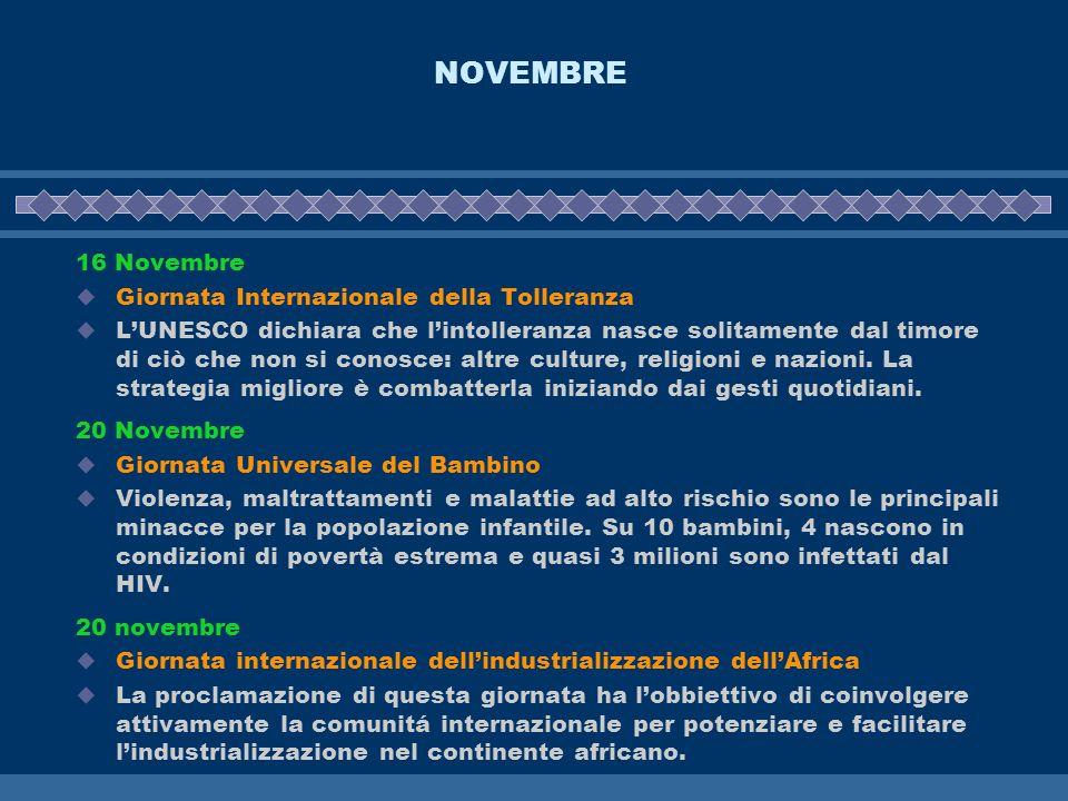 NOVEMBRE 16 Novembre Giornata Internazionale della Tolleranza LUNESCO dichiara che lintolleranza nasce solitamente dal timore di ciò che non si conosc