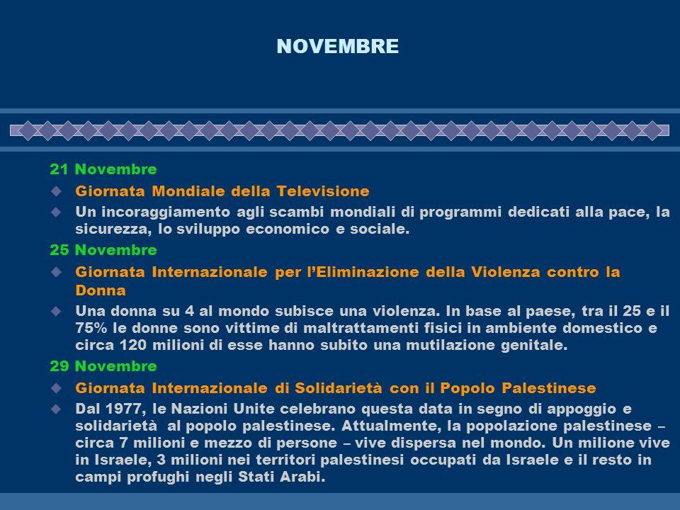 NOVEMBRE 21 Novembre Giornata Mondiale della Televisione Un incoraggiamento agli scambi mondiali di programmi dedicati alla pace, la sicurezza, lo svi