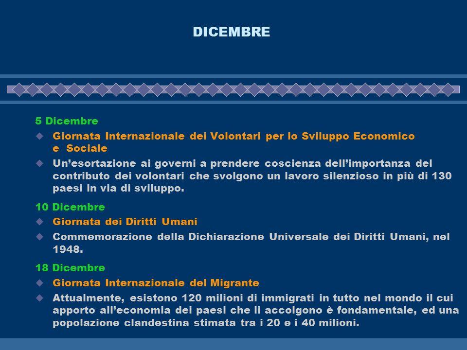 DICEMBRE 5 Dicembre Giornata Internazionale dei Volontari per lo Sviluppo Economico e Sociale Unesortazione ai governi a prendere coscienza dellimport