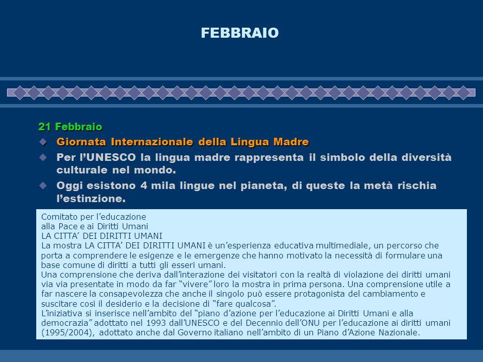 FEBBRAIO 21 Febbraio Giornata Internazionale della Lingua Madre Giornata Internazionale della Lingua Madre Per lUNESCO la lingua madre rappresenta il