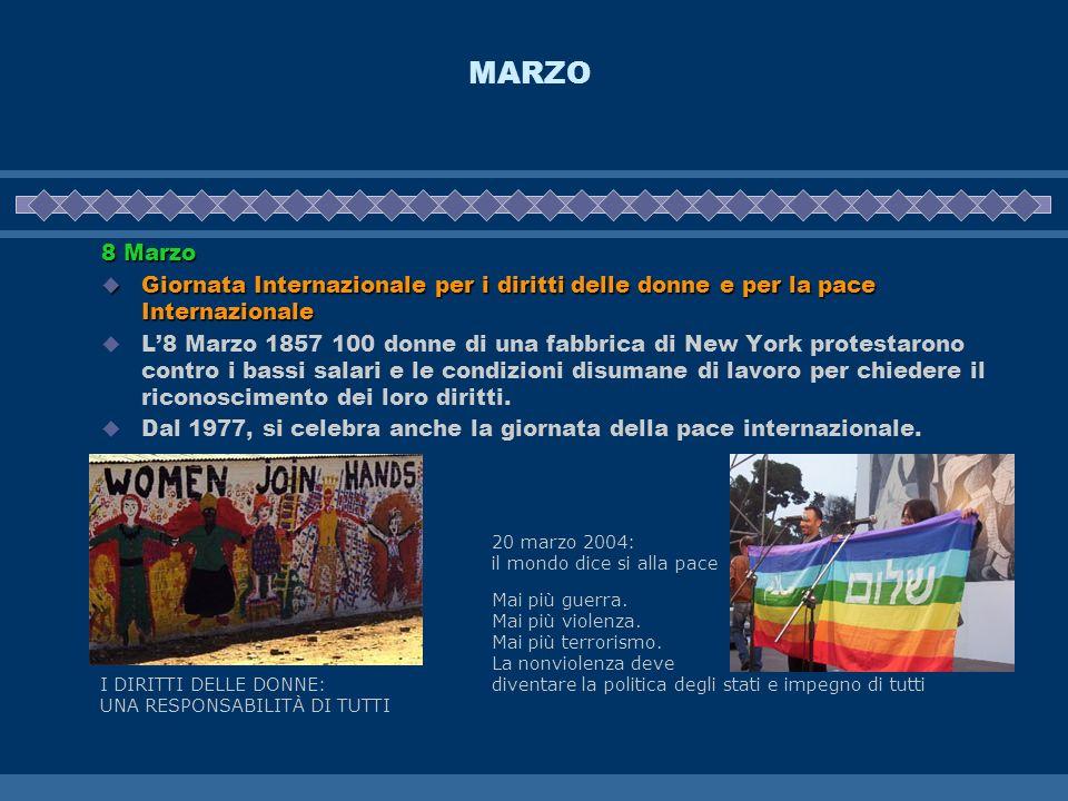 MARZO 8 Marzo Giornata Internazionale per i diritti delle donne e per la pace Internazionale Giornata Internazionale per i diritti delle donne e per l