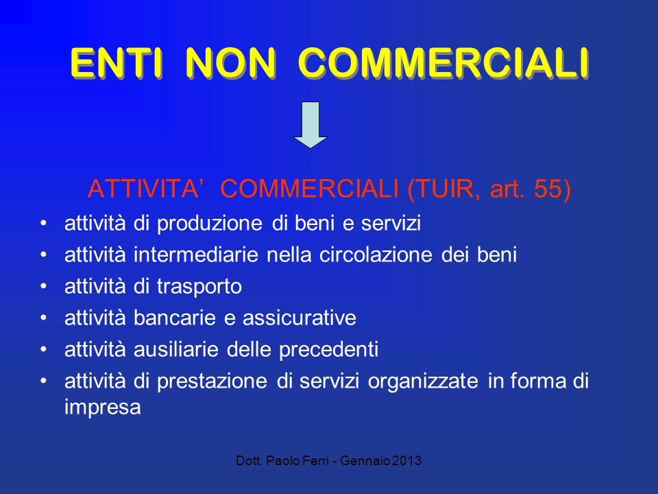 Dott. Paolo Ferri - Gennaio 2013 ENTI NON COMMERCIALI ATTIVITA COMMERCIALI (TUIR, art.