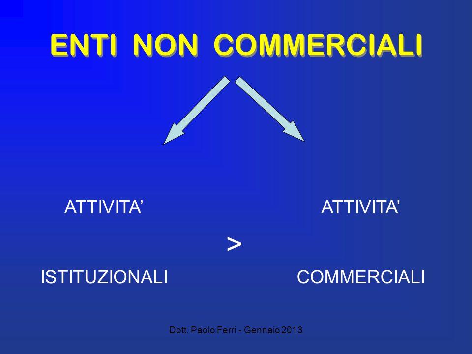 Dott. Paolo Ferri - Gennaio 2013 ENTI NON COMMERCIALI ATTIVITA > ISTITUZIONALICOMMERCIALI