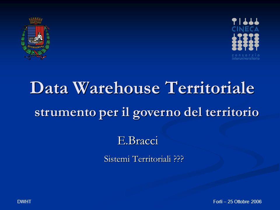 DWHTForlì – 25 Ottobre 2006 Data Warehouse Territoriale Sistemi Territoriali .