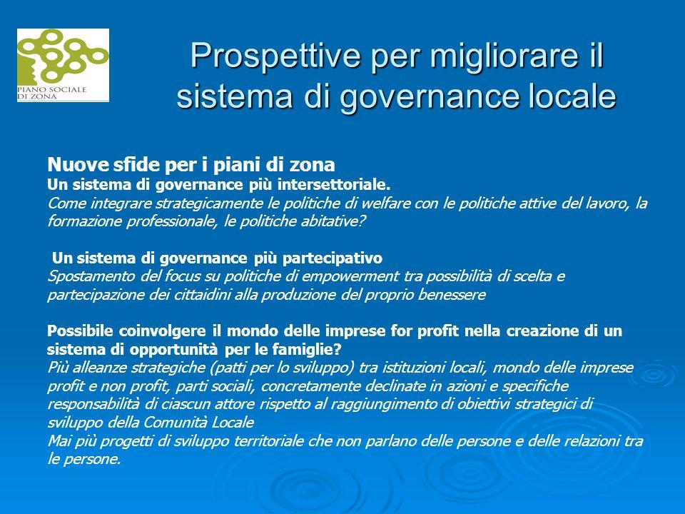 Prospettive per migliorare il sistema di governance locale Nuove sfide per i piani di zona Un sistema di governance più intersettoriale.