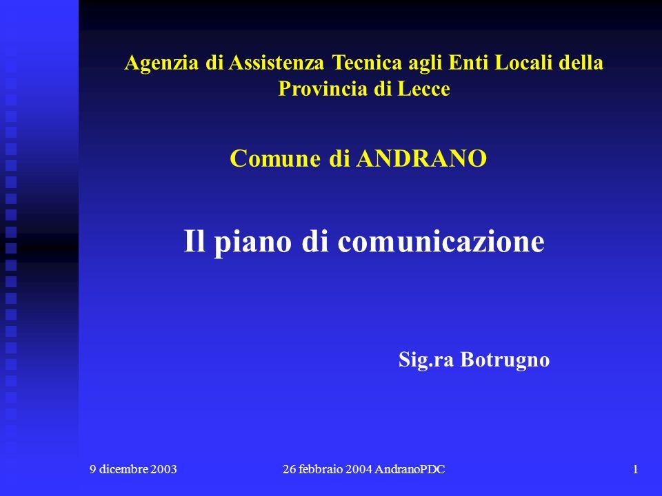 9 dicembre 200326 febbraio 2004 AndranoPDC1 Il piano di comunicazione Comune di ANDRANO Sig.ra Botrugno Agenzia di Assistenza Tecnica agli Enti Locali della Provincia di Lecce