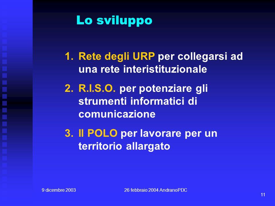 9 dicembre 200326 febbraio 2004 AndranoPDC 11 1.Rete degli URP per collegarsi ad una rete interistituzionale 2.R.I.S.O. per potenziare gli strumenti i