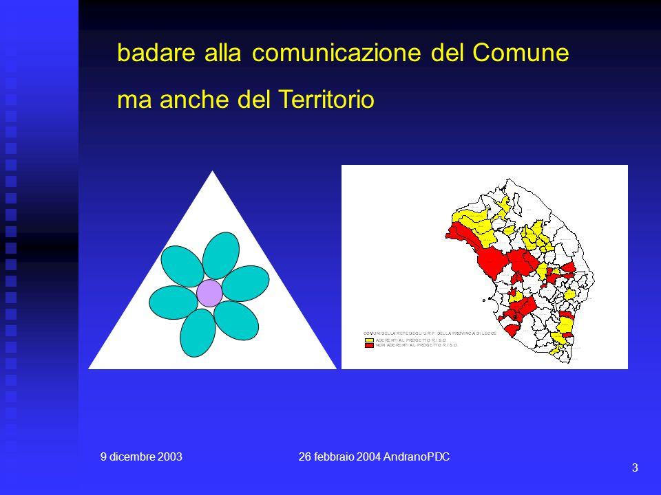 9 dicembre 200326 febbraio 2004 AndranoPDC 3 badare alla comunicazione del Comune ma anche del Territorio