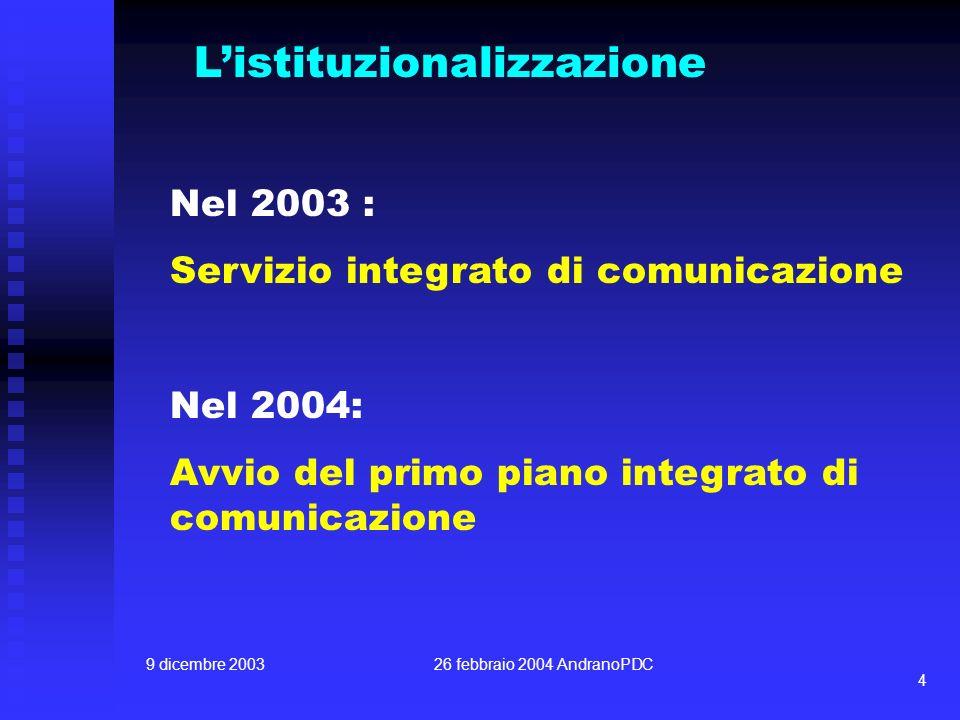 9 dicembre 200326 febbraio 2004 AndranoPDC 4 Listituzionalizzazione Nel 2003 : Servizio integrato di comunicazione Nel 2004: Avvio del primo piano int