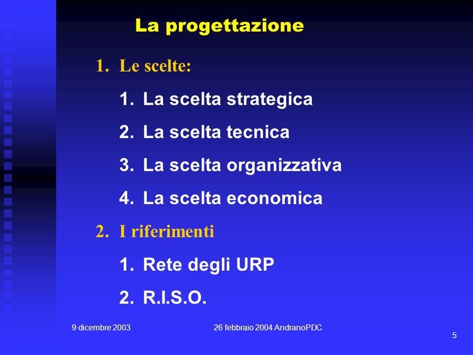 9 dicembre 200326 febbraio 2004 AndranoPDC 5 La progettazione 1.Le scelte: 1.La scelta strategica 2.La scelta tecnica 3.La scelta organizzativa 4.La scelta economica 2.I riferimenti 1.Rete degli URP 2.R.I.S.O.