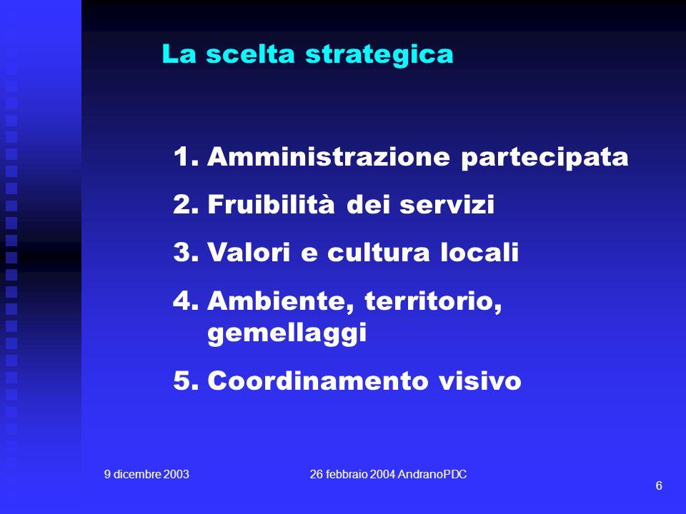 9 dicembre 200326 febbraio 2004 AndranoPDC 6 La scelta strategica 1.Amministrazione partecipata 2.Fruibilità dei servizi 3.Valori e cultura locali 4.Ambiente, territorio, gemellaggi 5.Coordinamento visivo
