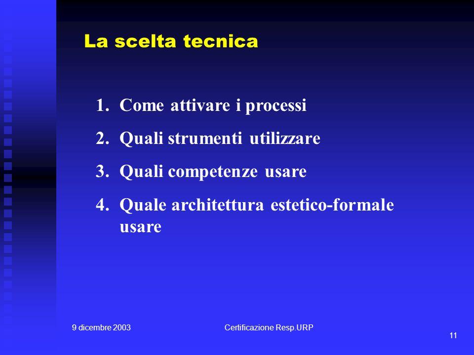 9 dicembre 2003Certificazione Resp.URP 11 La scelta tecnica 1.Come attivare i processi 2.Quali strumenti utilizzare 3.Quali competenze usare 4.Quale architettura estetico-formale usare