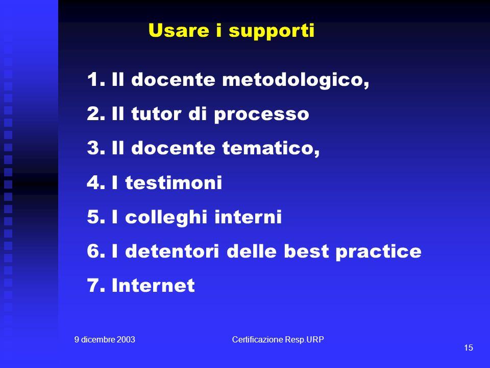 9 dicembre 2003Certificazione Resp.URP 15 Usare i supporti 1.Il docente metodologico, 2.Il tutor di processo 3.Il docente tematico, 4.I testimoni 5.I colleghi interni 6.I detentori delle best practice 7.Internet