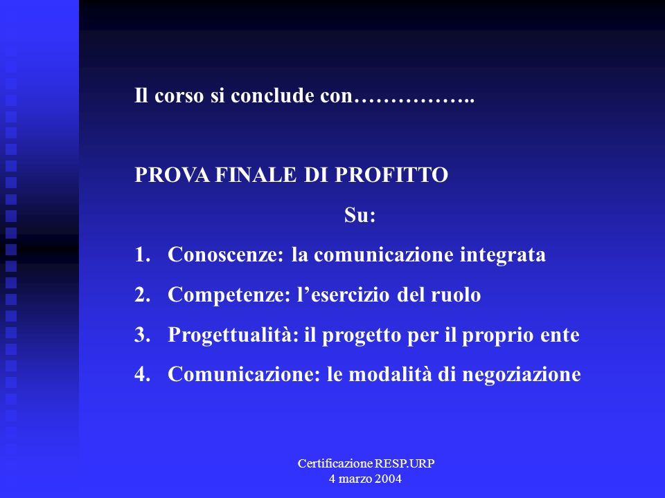 Certificazione RESP.URP 4 marzo 2004 Apprendimento atteso Come si progetta Come si lavora in gruppo Come si presenta Come si negozia Come si fa rete Come si è consulente