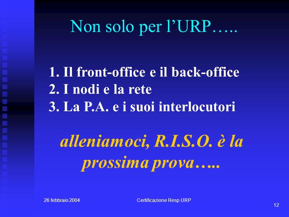 26 febbraio 2004Certificazione Resp.URP 11 Il primo Forum Condividere con gli Amministratori: 1.La progettazione in corso 2.Il ruolo dei collaboratori 3.Il sistema di rete 4.La predisposizione dellorganizzazione interna e del territorio