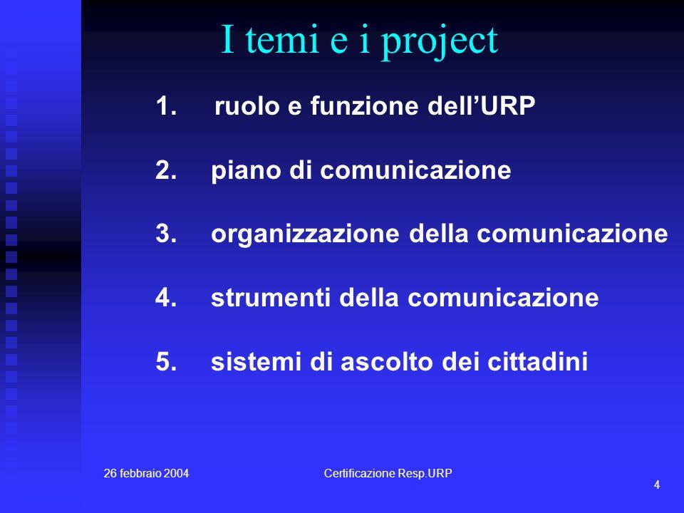26 febbraio 2004Certificazione Resp.URP 3 I moduli: uno spazio progettuale MM t T analisibenchmarkingprogettazione tutor di processodocente tematico metodologo i committenti, gli esperti, i testimoni, gli opinion leader