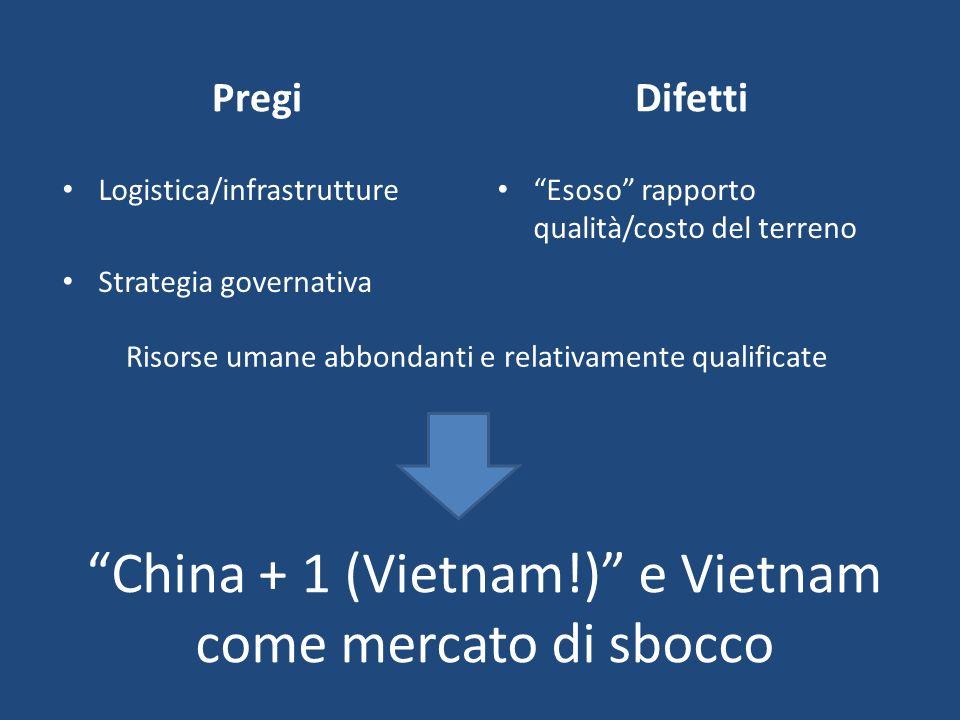 China + 1 (Vietnam!) e Vietnam come mercato di sbocco Pregi Logistica/infrastrutture Strategia governativa Difetti Esoso rapporto qualità/costo del te