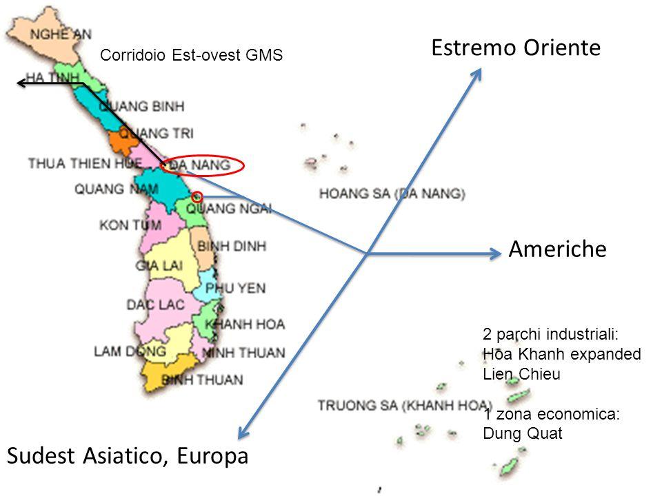 Sudest Asiatico, Europa Estremo Oriente Americhe 2 parchi industriali: Hoa Khanh expanded Lien Chieu 1 zona economica: Dung Quat Corridoio Est-ovest G
