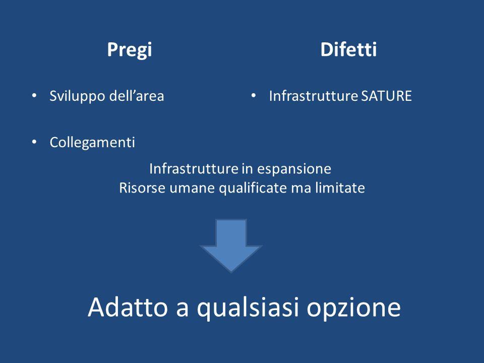 Adatto a qualsiasi opzione Pregi Sviluppo dellarea Collegamenti Difetti Infrastrutture SATURE Infrastrutture in espansione Risorse umane qualificate m