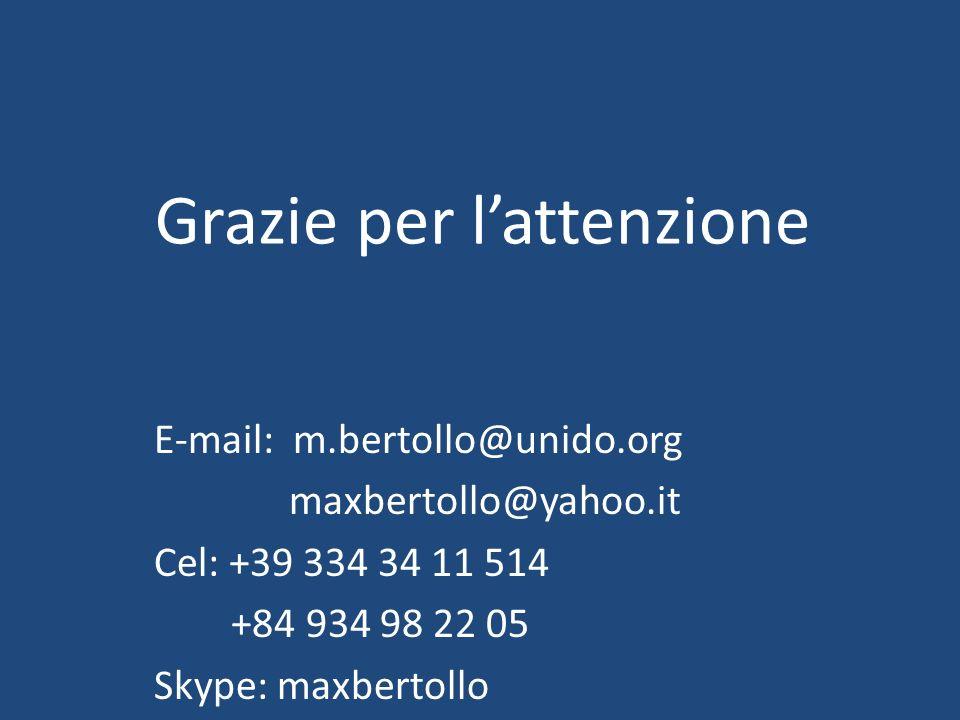 Grazie per lattenzione E-mail: m.bertollo@unido.org maxbertollo@yahoo.it Cel: +39 334 34 11 514 +84 934 98 22 05 Skype: maxbertollo