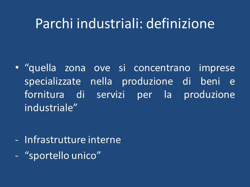 Parchi industriali: definizione quella zona ove si concentrano imprese specializzate nella produzione di beni e fornitura di servizi per la produzione