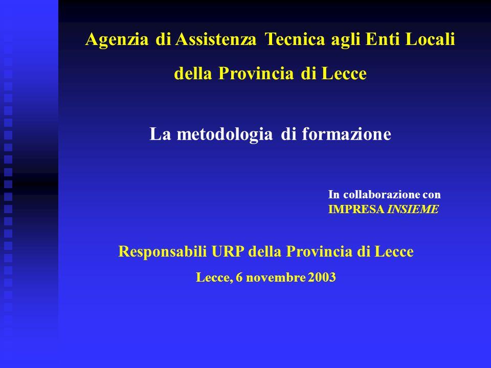 Responsabili URP della Provincia di Lecce Lecce, 6 novembre 2003 La metodologia di formazione In collaborazione con IMPRESA INSIEME Agenzia di Assistenza Tecnica agli Enti Locali della Provincia di Lecce