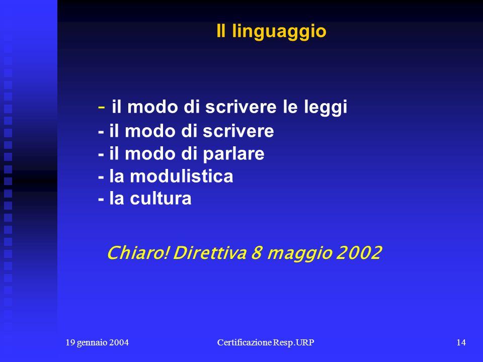 19 gennaio 2004Certificazione Resp.URP13 - il punto di contatto - siti e portali - il call center - le banche dati - la visibilità dei processi - i si