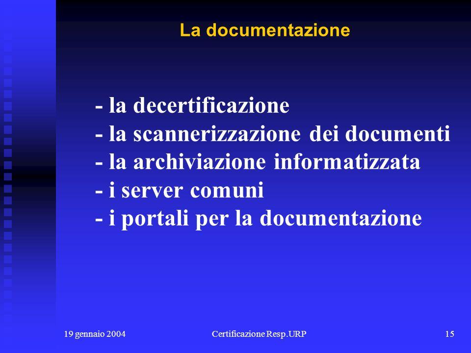 19 gennaio 2004Certificazione Resp.URP14 - il modo di scrivere le leggi - il modo di scrivere - il modo di parlare - la modulistica - la cultura Il li