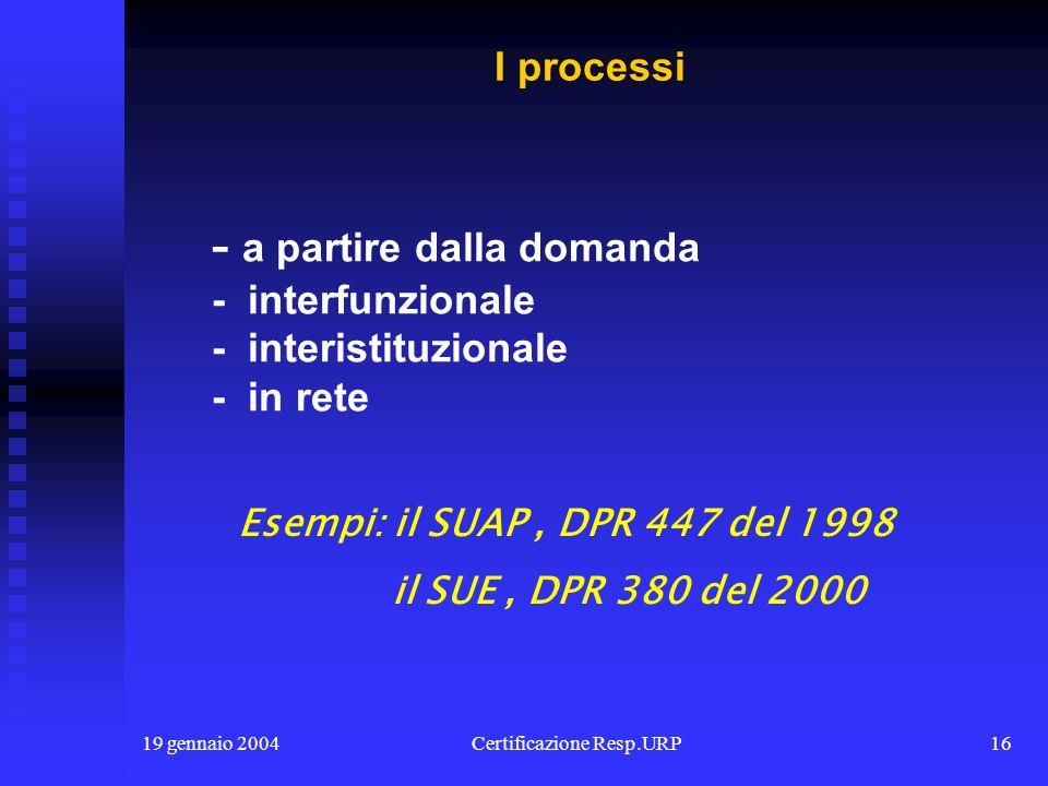 19 gennaio 2004Certificazione Resp.URP15 - la decertificazione - la scannerizzazione dei documenti - la archiviazione informatizzata - i server comuni - i portali per la documentazione La documentazione