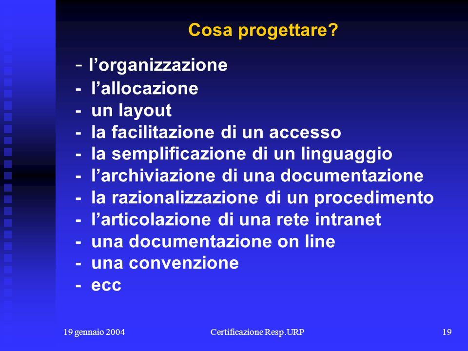 19 gennaio 2004Certificazione Resp.URP18 - i protocolli - le convenzioni - le associazioni, - i gruppi di progetto - i tirocinii - i finanziamenti - l