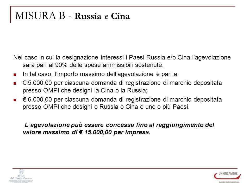 MISURA B - Russia e Cina Nel caso in cui la designazione interessi i Paesi Russia e/o Cina lagevolazione sarà pari al 90% delle spese ammissibili sostenute.