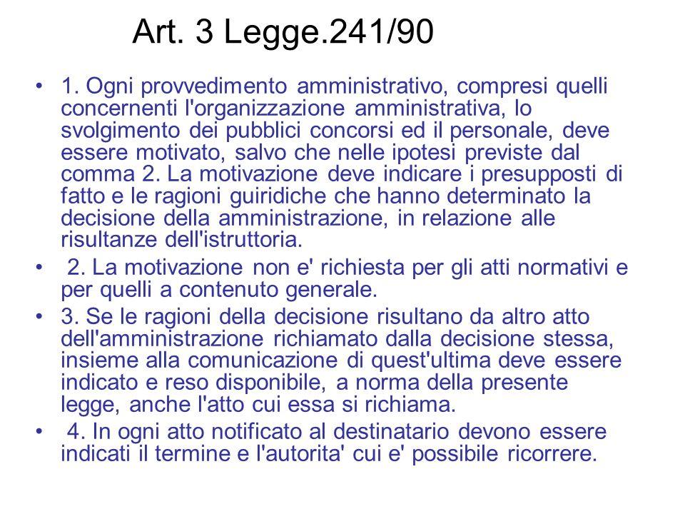 Art. 3 Legge.241/90 1. Ogni provvedimento amministrativo, compresi quelli concernenti l'organizzazione amministrativa, lo svolgimento dei pubblici con