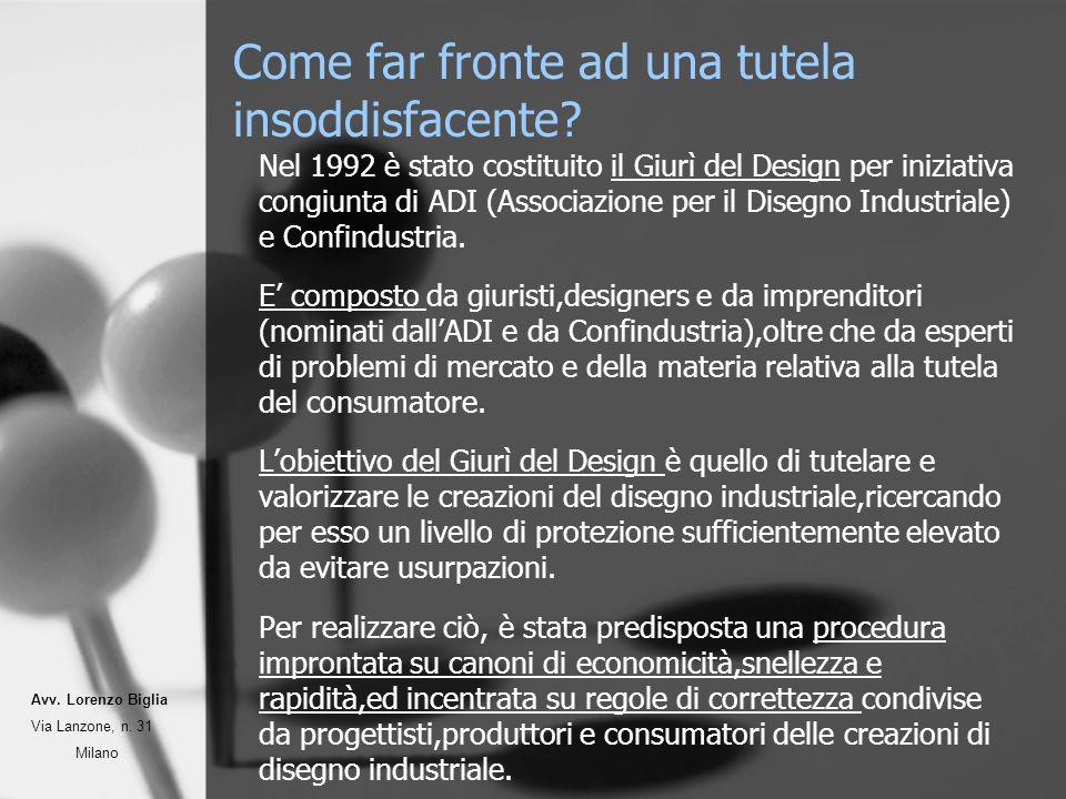 Come far fronte ad una tutela insoddisfacente? Nel 1992 è stato costituito il Giurì del Design per iniziativa congiunta di ADI (Associazione per il Di