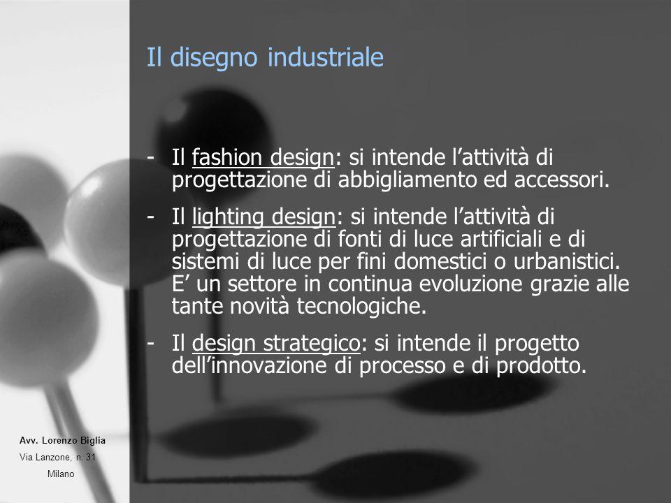 Il disegno industriale -Il fashion design: si intende lattività di progettazione di abbigliamento ed accessori. -Il lighting design: si intende lattiv