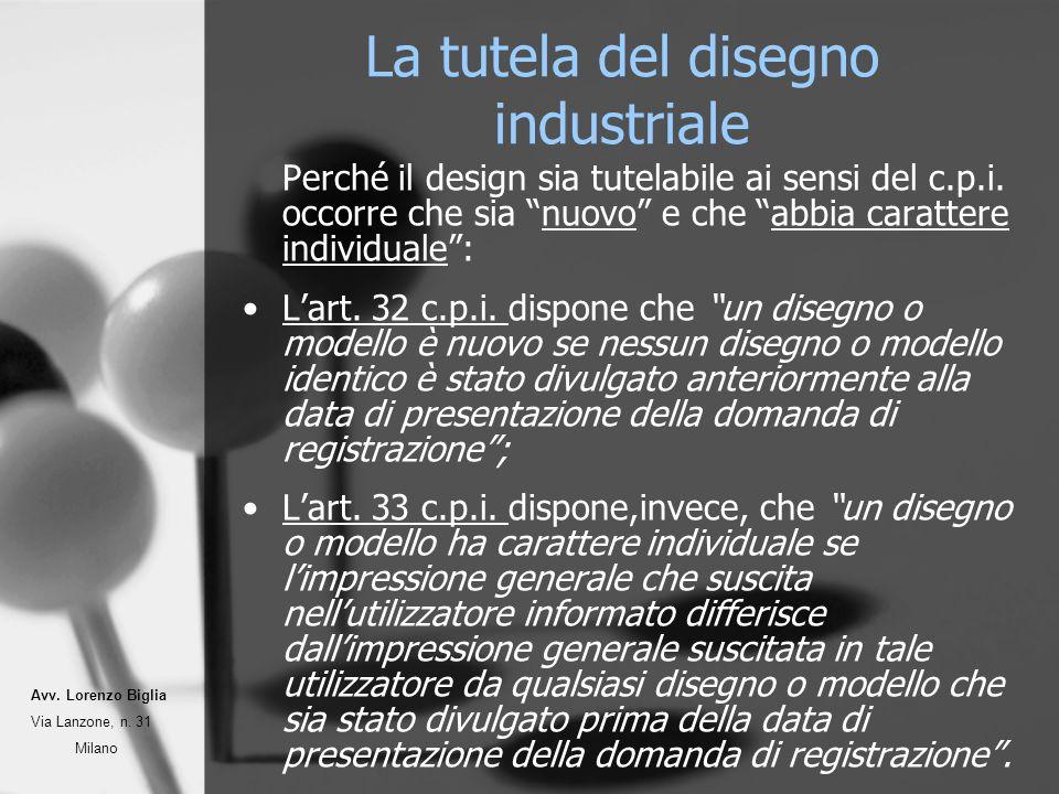 La tutela del disegno industriale Perché il design sia tutelabile ai sensi del c.p.i. occorre che sia nuovo e che abbia carattere individuale: Lart. 3