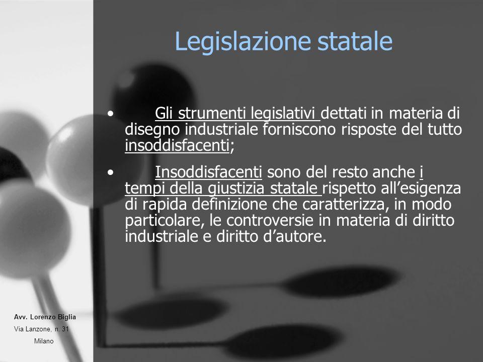 Legislazione statale Gli strumenti legislativi dettati in materia di disegno industriale forniscono risposte del tutto insoddisfacenti; Insoddisfacent