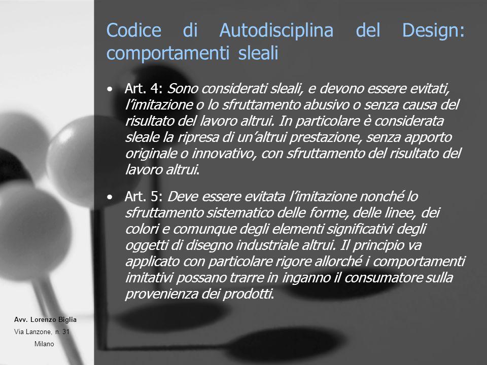Codice di Autodisciplina del Design: comportamenti sleali Art.