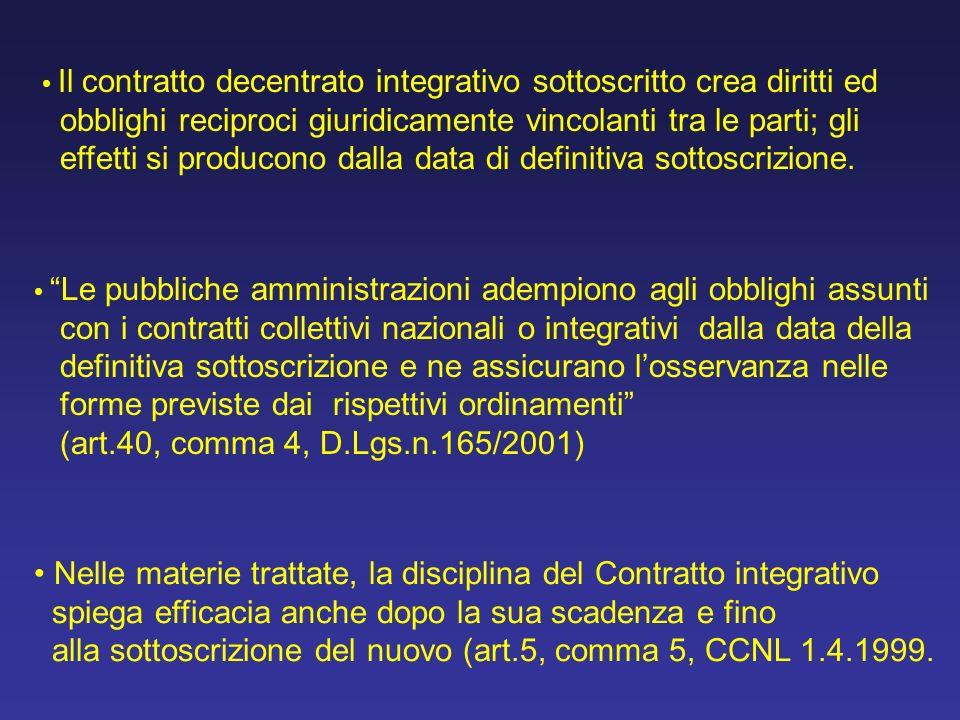 Il contratto decentrato integrativo sottoscritto crea diritti ed obblighi reciproci giuridicamente vincolanti tra le parti; gli effetti si producono dalla data di definitiva sottoscrizione.