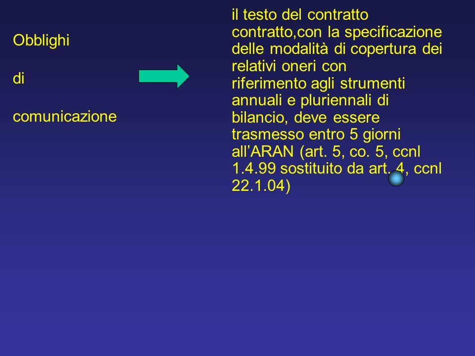il testo del contratto contratto,con la specificazione delle modalità di copertura dei relativi oneri con riferimento agli strumenti annuali e pluriennali di bilancio, deve essere trasmesso entro 5 giorni allARAN (art.