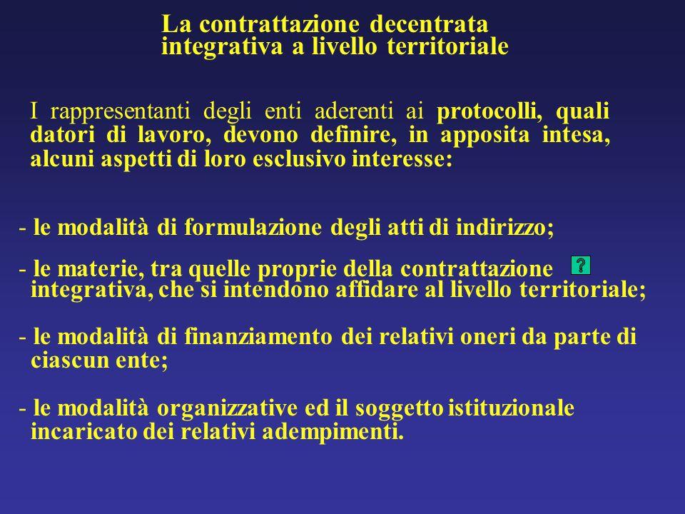 I rappresentanti degli enti aderenti ai protocolli, quali datori di lavoro, devono definire, in apposita intesa, alcuni aspetti di loro esclusivo interesse: - le modalità di formulazione degli atti di indirizzo; - le materie, tra quelle proprie della contrattazione integrativa, che si intendono affidare al livello territoriale; - le modalità di finanziamento dei relativi oneri da parte di ciascun ente; - le modalità organizzative ed il soggetto istituzionale incaricato dei relativi adempimenti.