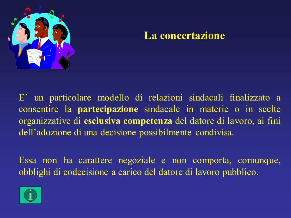 La concertazione E un particolare modello di relazioni sindacali finalizzato a consentire la partecipazione sindacale in materie o in scelte organizzative di esclusiva competenza del datore di lavoro, ai fini delladozione di una decisione possibilmente condivisa.