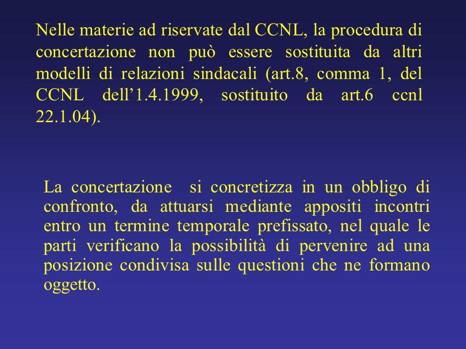 Nelle materie ad riservate dal CCNL, la procedura di concertazione non può essere sostituita da altri modelli di relazioni sindacali (art.8, comma 1, del CCNL dell1.4.1999, sostituito da art.6 ccnl 22.1.04).