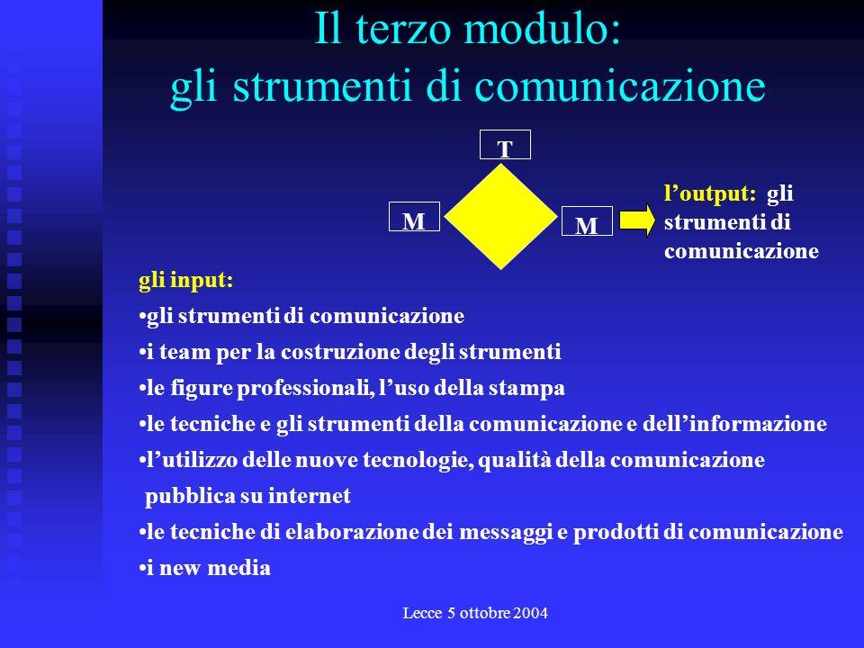 Lecce 5 ottobre 2004 Il secondo modulo: il piano di comunicazione T M M linput: la comunicazione integrata la tendenza e levoluzione della comunicazione e dellinformazione istituzionale la predisposizione di piani annuali di comunicazione e delle campagne di informazione loutput: il piano di comunicazione