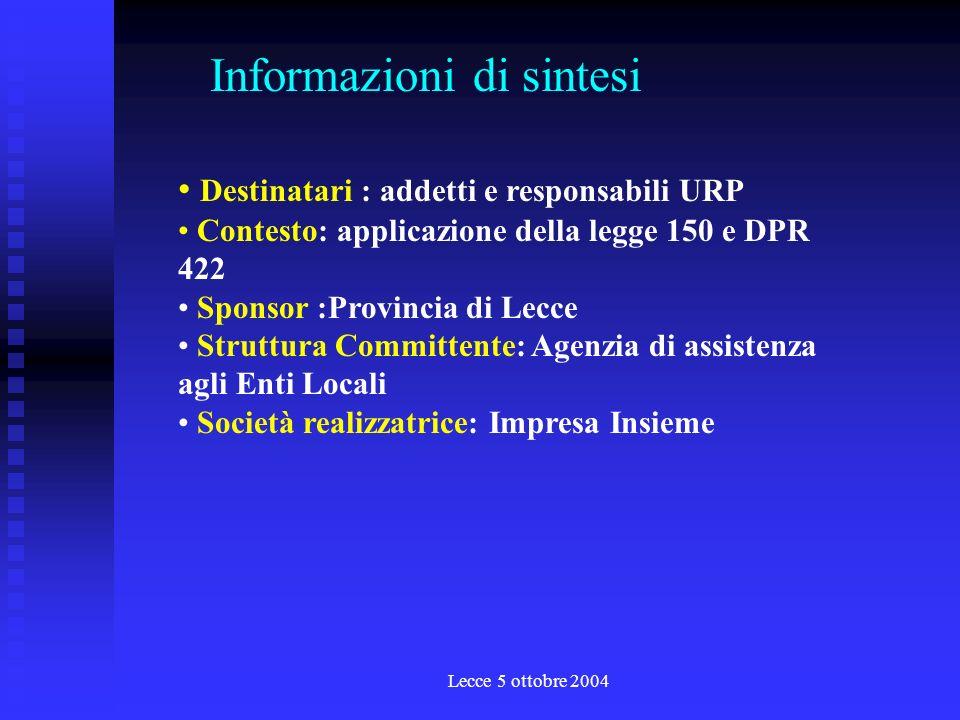 Lecce 5 ottobre 2004 Lapprendimento lorganizzazione e le leggi la comunicazione e i piani lorganizzazione del lavoro e linformatica gli strumenti di comunicazione i sistemi di ascolto e di miglioramento la progettazione, la comunicazione, la negoziazione