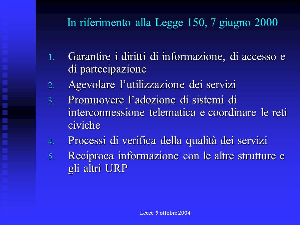 Lecce 5 ottobre 2004 1. protocollo dintesa per la Rete URP 2001 2.