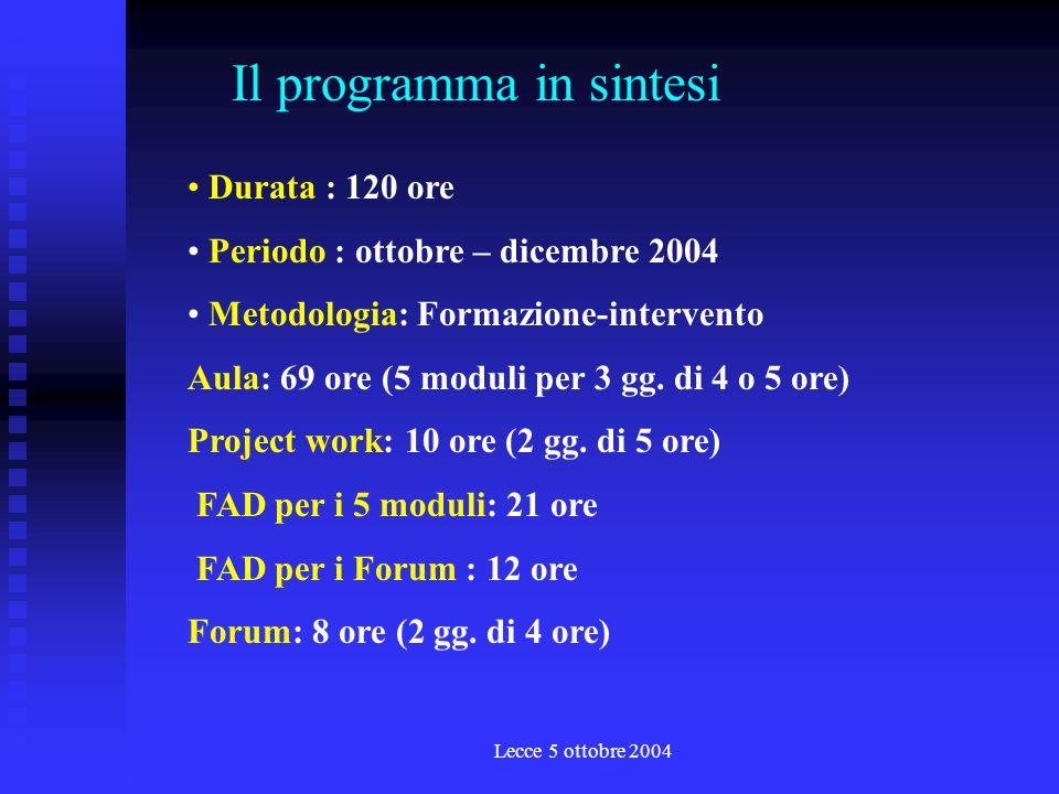 Lecce 5 ottobre 2004 Durata : 120 ore Periodo : ottobre – dicembre 2004 Metodologia: Formazione-intervento Aula: 69 ore (5 moduli per 3 gg.
